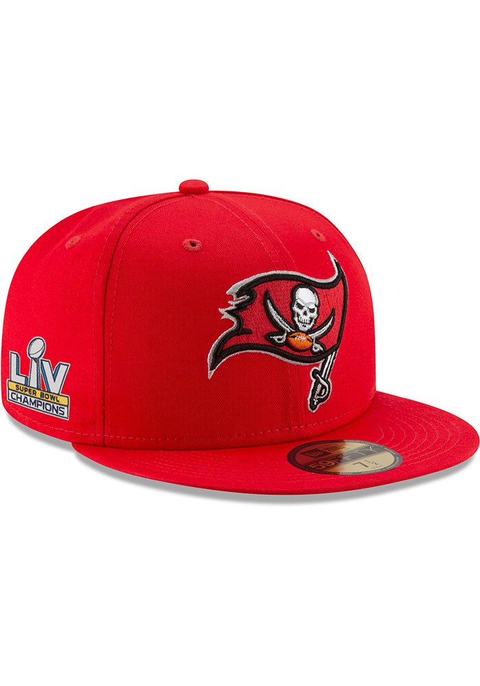 New Era Tampa Bay Buccaneers Mens Grey Super Bowl LV Champs Side Patch 59FIFTY Fitted Hat - Image 1