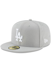 New Era Los Angeles Dodgers Mens Grey Basic 59FIFTY Fitted Hat