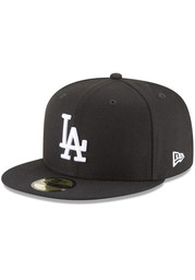 New Era Los Angeles Dodgers Mens Black White Logo 59FIFTY Fitted Hat