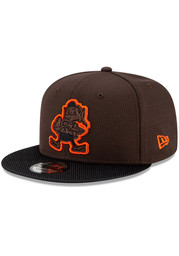 New Era Cleveland Browns Brown 2021 Sideline Road 9FIFTY Mens Snapback Hat