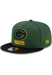 New Era Green Bay Packers Green 2021 Sideline Road 9FIFTY Mens Snapback Hat