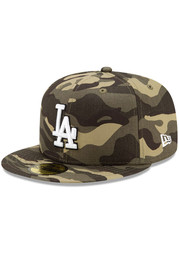 New Era Los Angeles Dodgers Mens Green 2021 Armed Forces Day 59FIFTY Fitted Hat