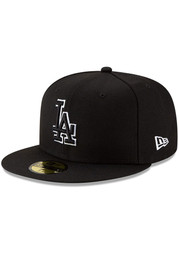 New Era Los Angeles Dodgers Mens Black White Outline Basic 59FIFTY Fitted Hat