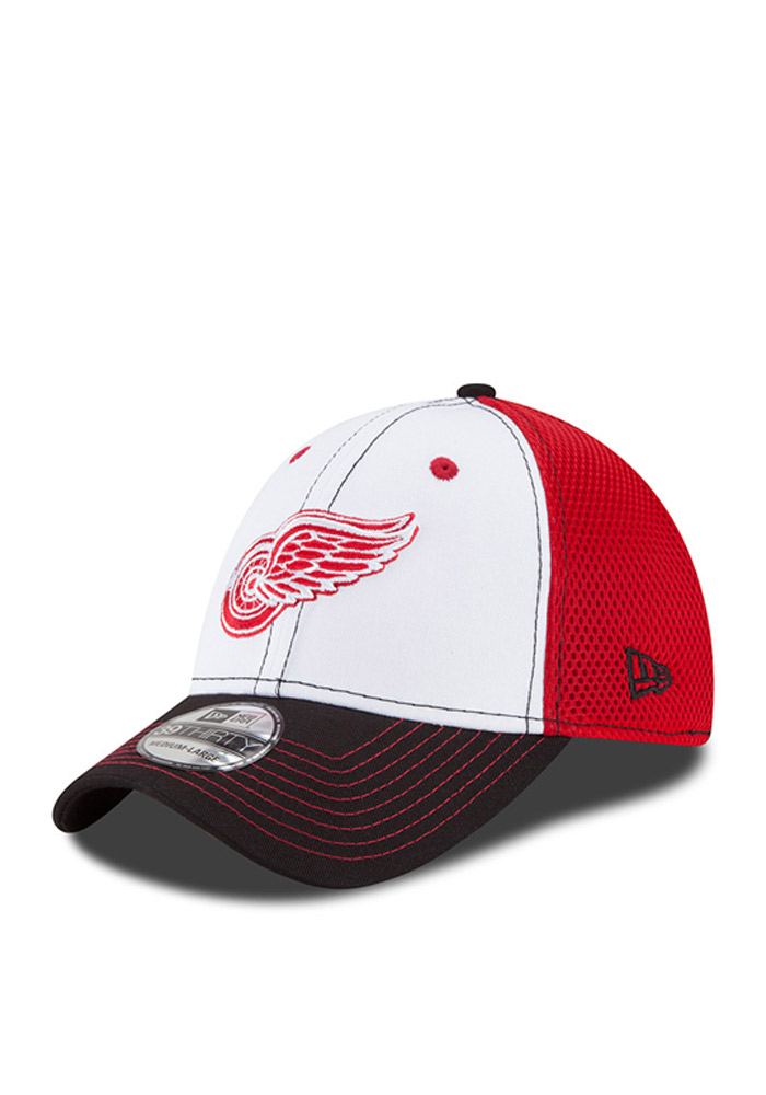 New Era Detroit Red Wings Mens Red White Front Flex Hat - Image 1