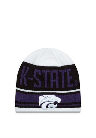 New Era K-State Wildcats White Snow Top Knit Hat