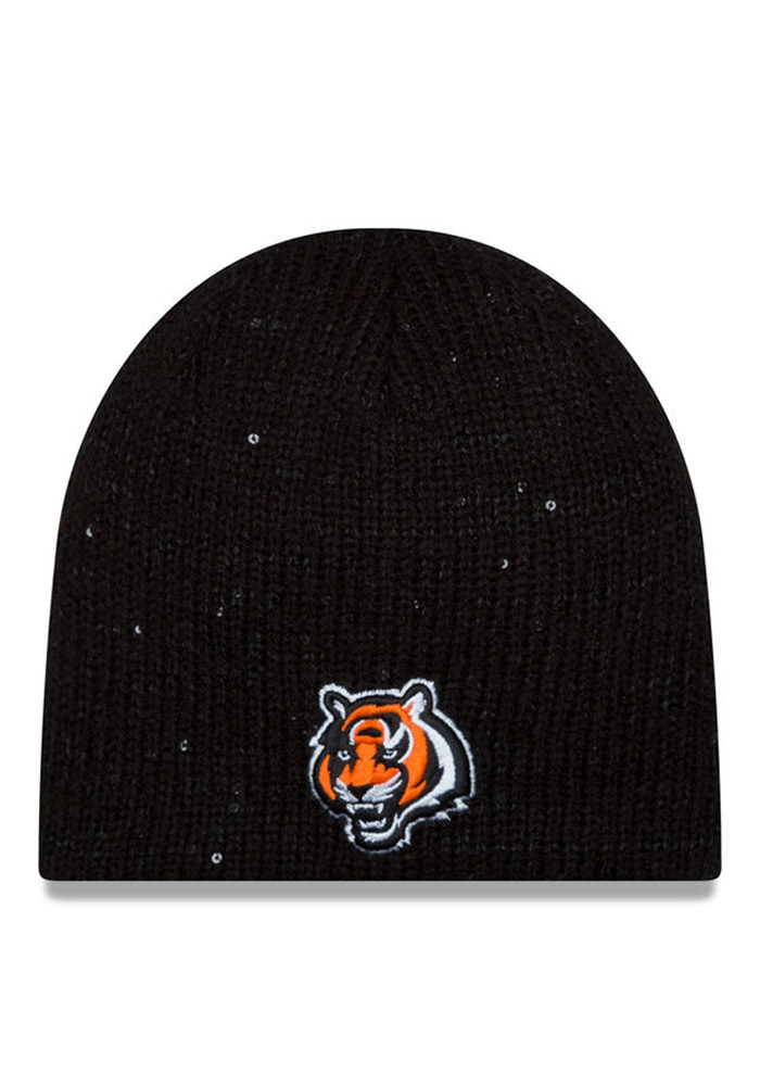 New Era Cincinnati Bengals Black Glistener Redux Womens Knit Hat - Image 1