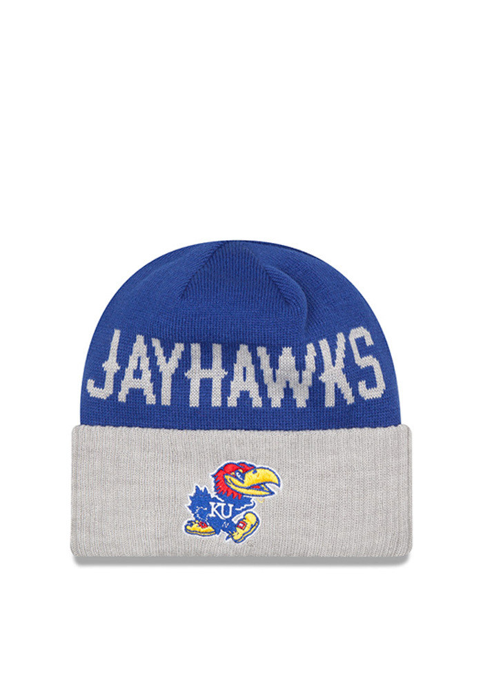 New Era Kansas Jayhawks Blue Classic Cover Mens Knit Hat - Image 1