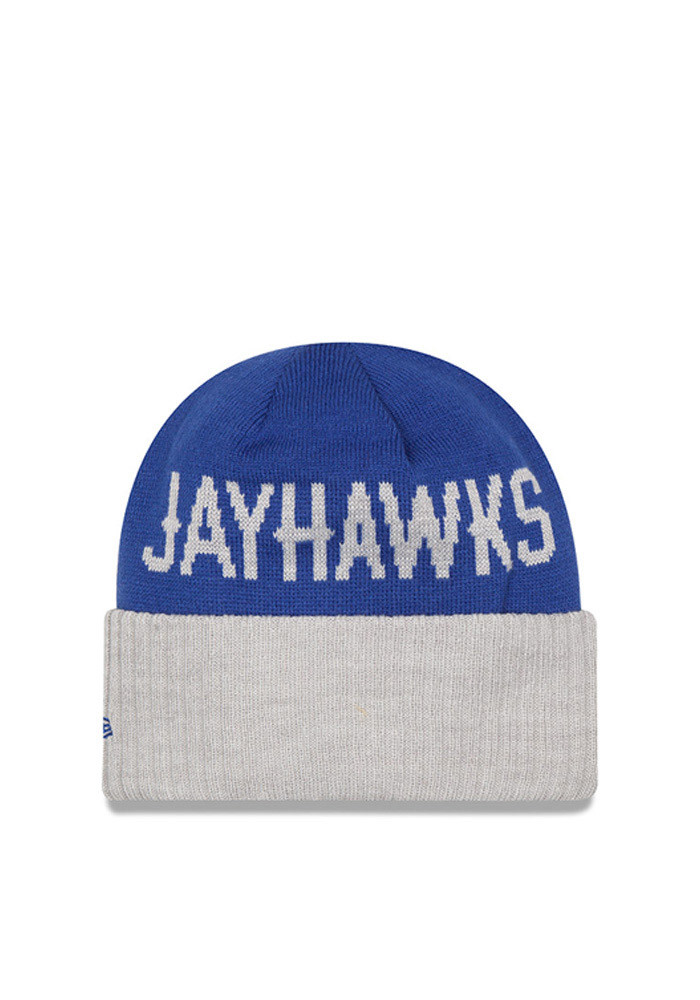 New Era Kansas Jayhawks Blue Classic Cover Mens Knit Hat - Image 2