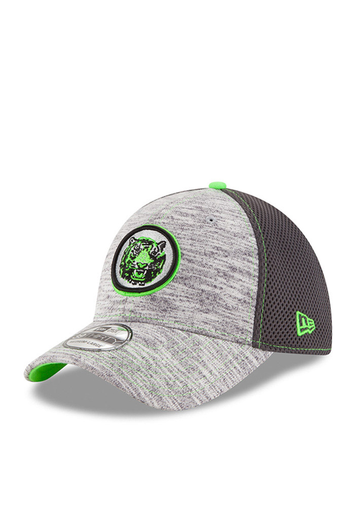 New Era Detroit Tigers Mens Grey Neon 2016 Clubhouse 39THIRTY Flex Hat - Image 1