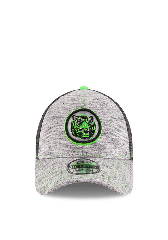 New Era Detroit Tigers Mens Grey Neon 2016 Clubhouse 39THIRTY Flex Hat - Image 3
