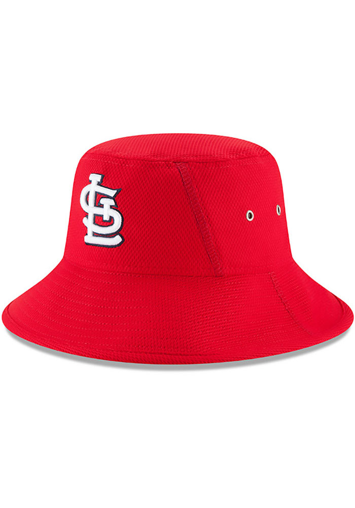 New Era St Louis Cardinals Red 2017 Clubhouse Mens Bucket Hat - Image 1