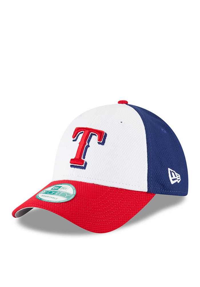 New Era Texas Rangers Mens Blue Perf Block 9FORTY Adjustable Hat - Image 1