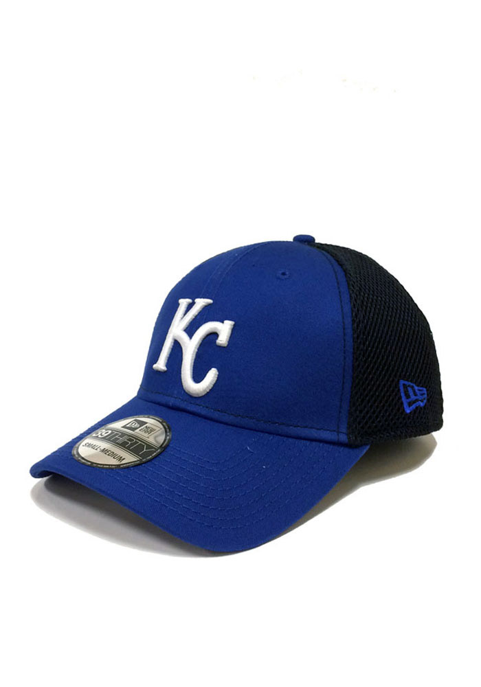New Era Kansas City Royals Mens Blue Team Fronted Neo 39THIRTY Flex Hat - Image 1