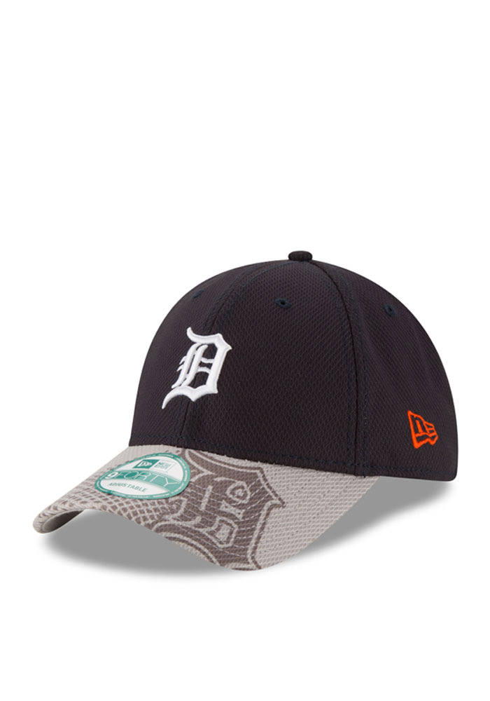 New Era Detroit Tigers Mens Navy Blue Team Slide 9FORTY Adjustable Hat - Image 1