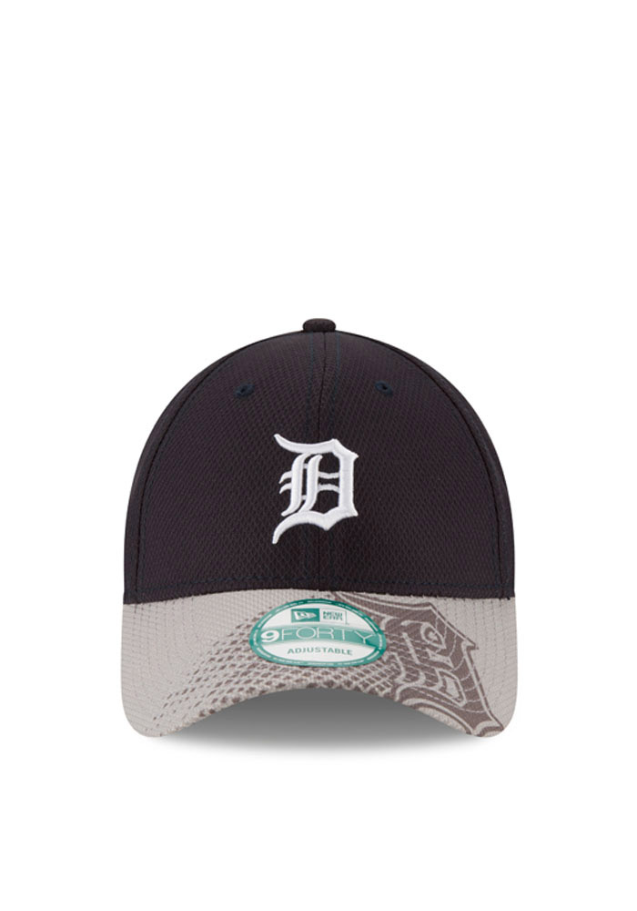 New Era Detroit Tigers Mens Navy Blue Team Slide 9FORTY Adjustable Hat - Image 2