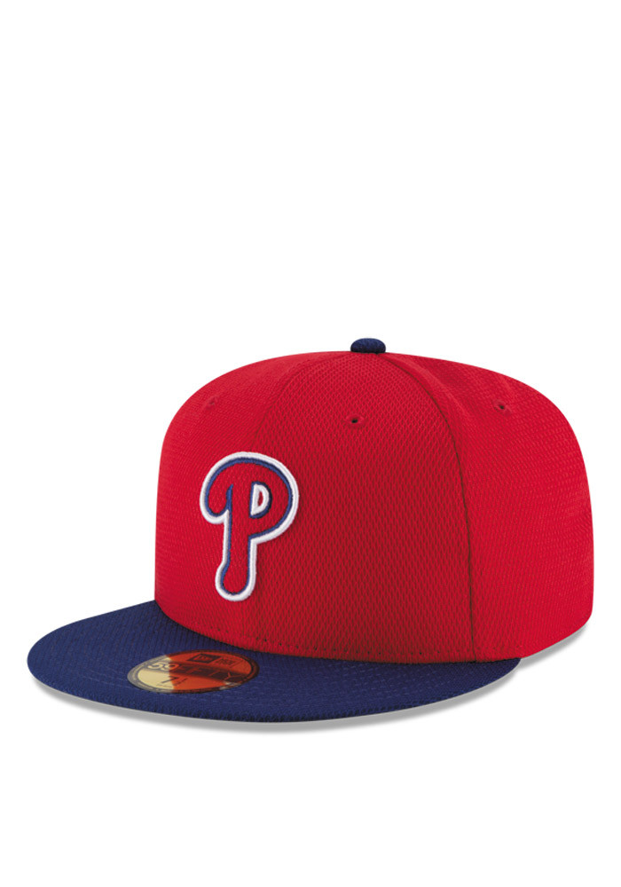 New Era Philadelphia Phillies Mens Red 2016 MLB Diamond Era 5950 Fitted Hat - Image 1