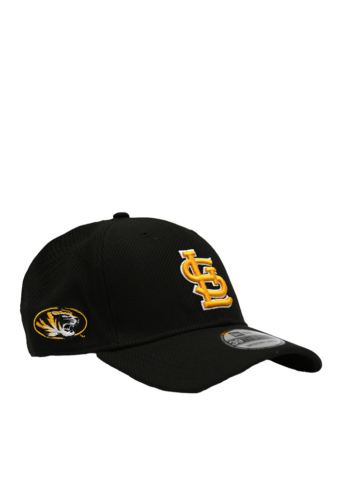 New Era St Louis Cardinals Mens Black Co Branded 39THIRTY Flex Hat - Image 1