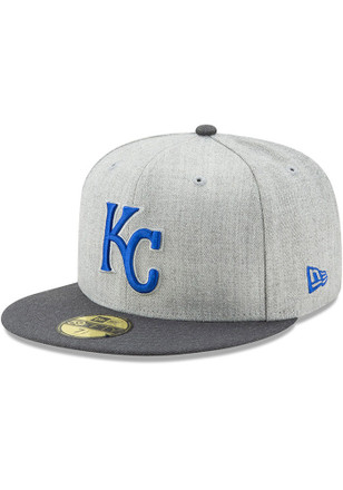 KC Royals New Era Mens Grey Heather Action Fitted 59FIFTY Fitted Hat
