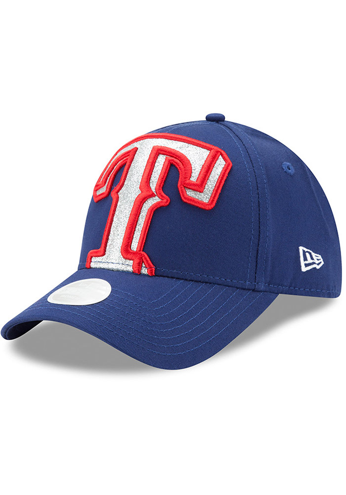 New Era Texas Rangers Blue Glitter Glam 3 9FORTY Womens Adjustable Hat - Image 1