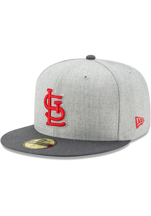 STL Cardinals New Era Mens Grey Heather Action Fitted 59FIFTY Fitted Hat