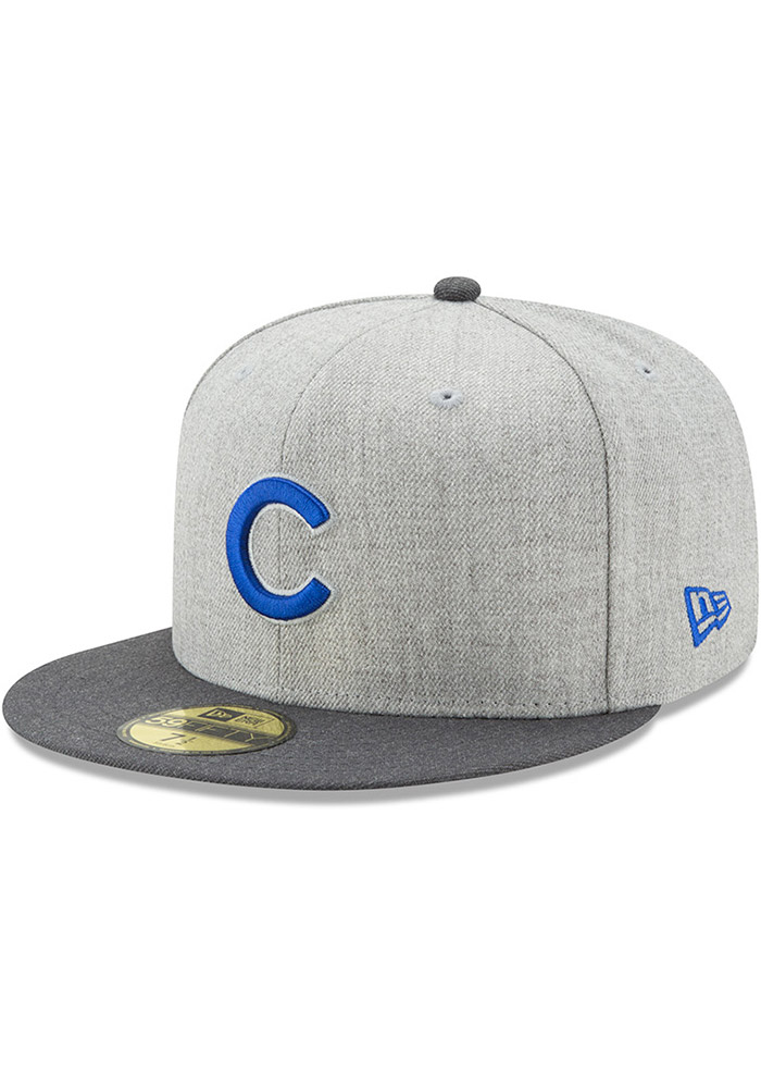 New Era Chicago Cubs Mens Grey Heather Action Fitted 59FIFTY Fitted Hat - Image 1