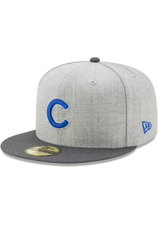 Chicago Cubs New Era Mens Grey Heather Action Fitted 59FIFTY Fitted Hat
