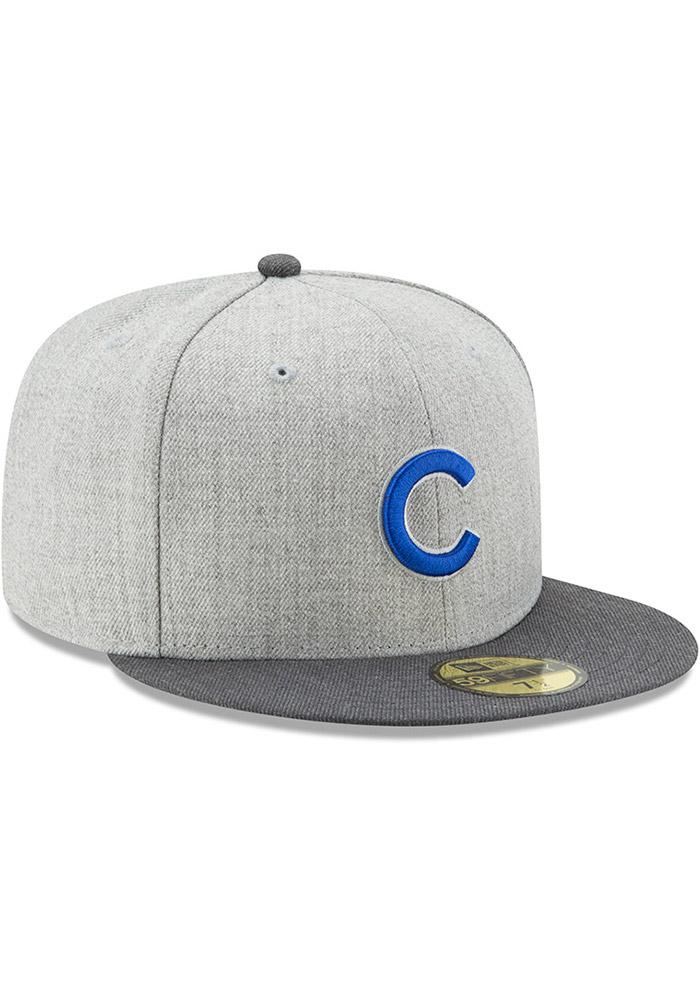New Era Chicago Cubs Mens Grey Heather Action Fitted 59FIFTY Fitted Hat - Image 2