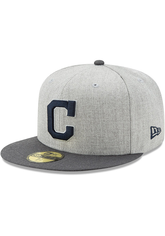 finest selection c6e42 f08b5 ... promo code for cleveland indians new era grey heather action fitted  59fifty fitted hat 81d3b ba21c