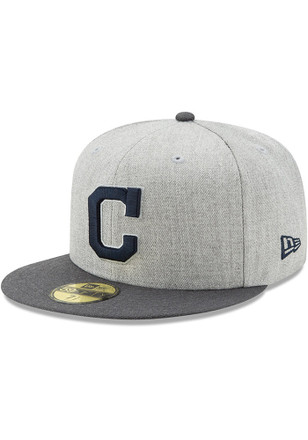 Cleveland Indians New Era Mens Grey Heather Action Fitted 59FIFTY Fitted Hat