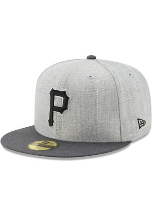 Pittsburgh Pirates New Era Mens Grey Heather Action Fitted 59FIFTY Fitted Hat