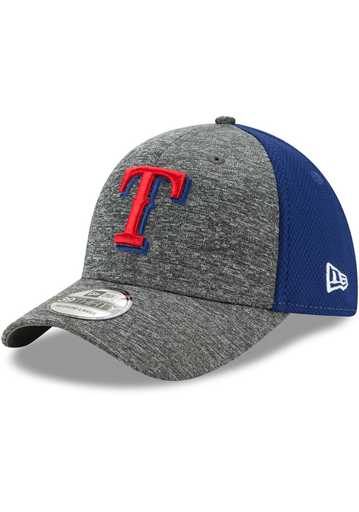 New Era Texas Rangers Mens Grey Shadow Blocker 39THIRTY Flex Hat - Image 1