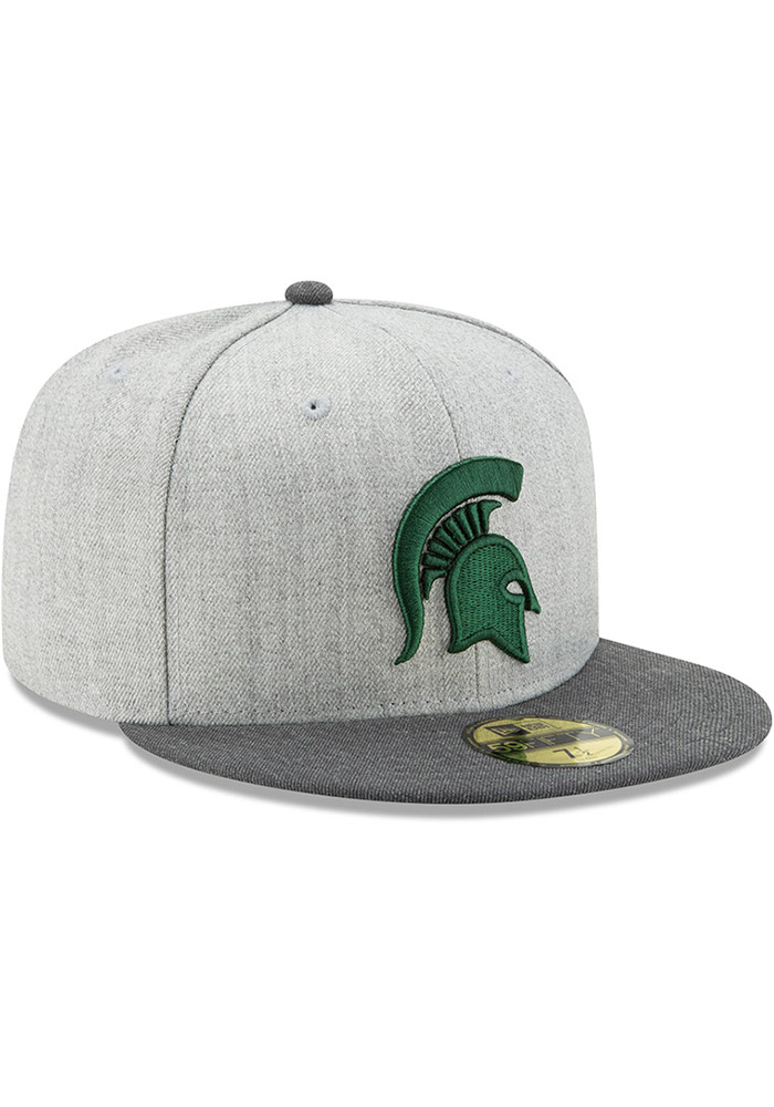 finest selection 522a4 df3ba New Era Michigan State Spartans Mens Grey Heather Action 59FIFTY Fitted Hat  - Image 2
