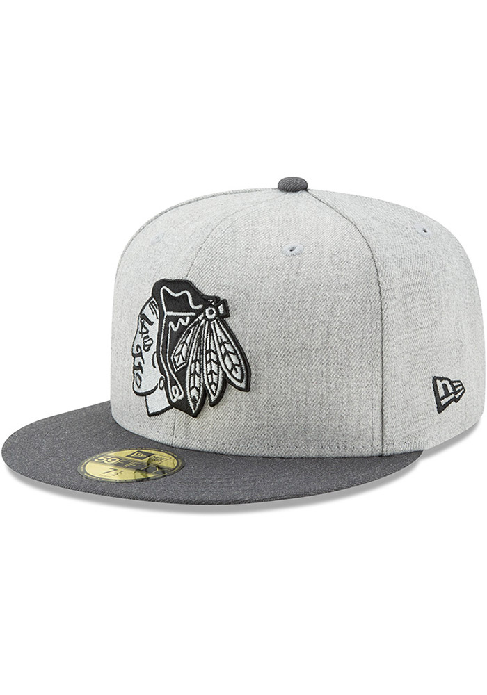 New Era Chicago Blackhawks Mens Grey Heather Action 59FIFTY Fitted Hat - Image 1
