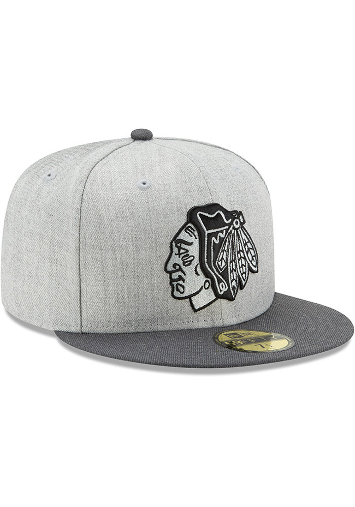 New Era Chicago Blackhawks Mens Grey Heather Action 59FIFTY Fitted Hat - Image 2