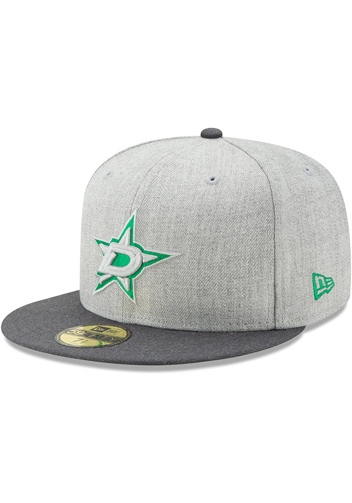 New Era Dallas Stars Mens Grey Heather Action 59FIFTY Fitted Hat - Image 1