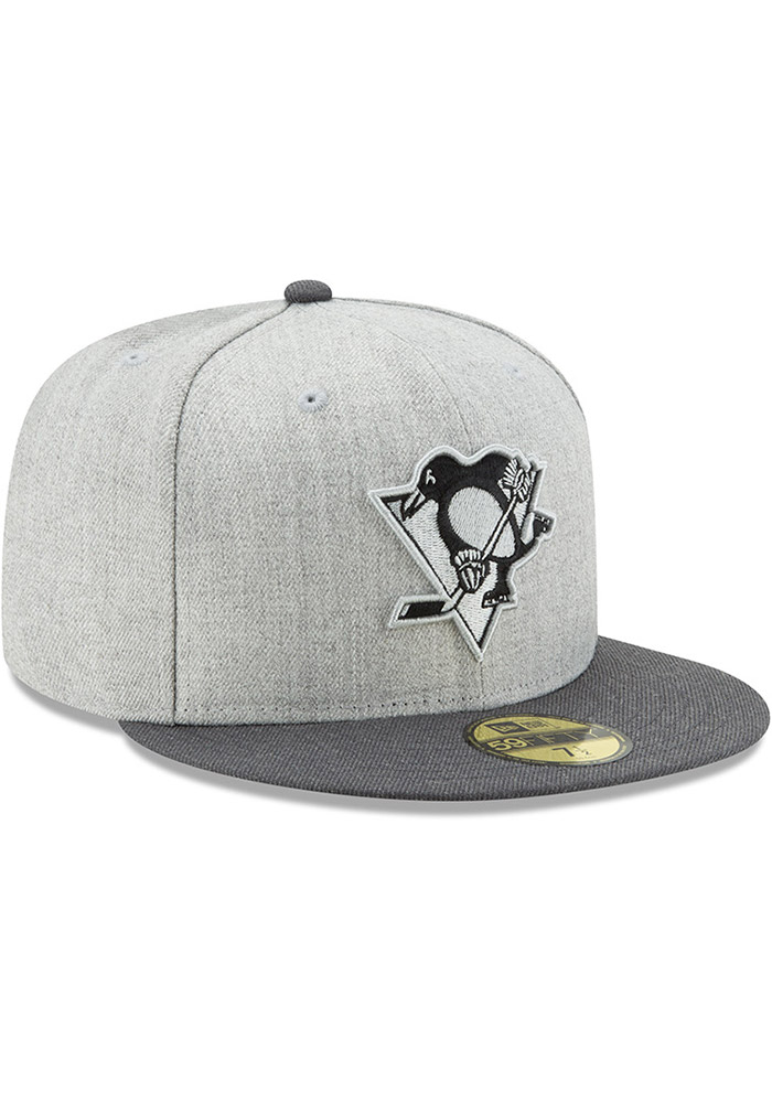 New Era Pittsburgh Penguins Mens Grey Heather Action 59FIFTY Fitted Hat - Image 2