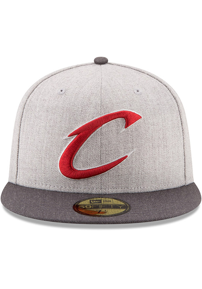 New Era Cleveland Cavaliers Mens Grey Heather Action 59FIFTY Fitted Hat - Image 3