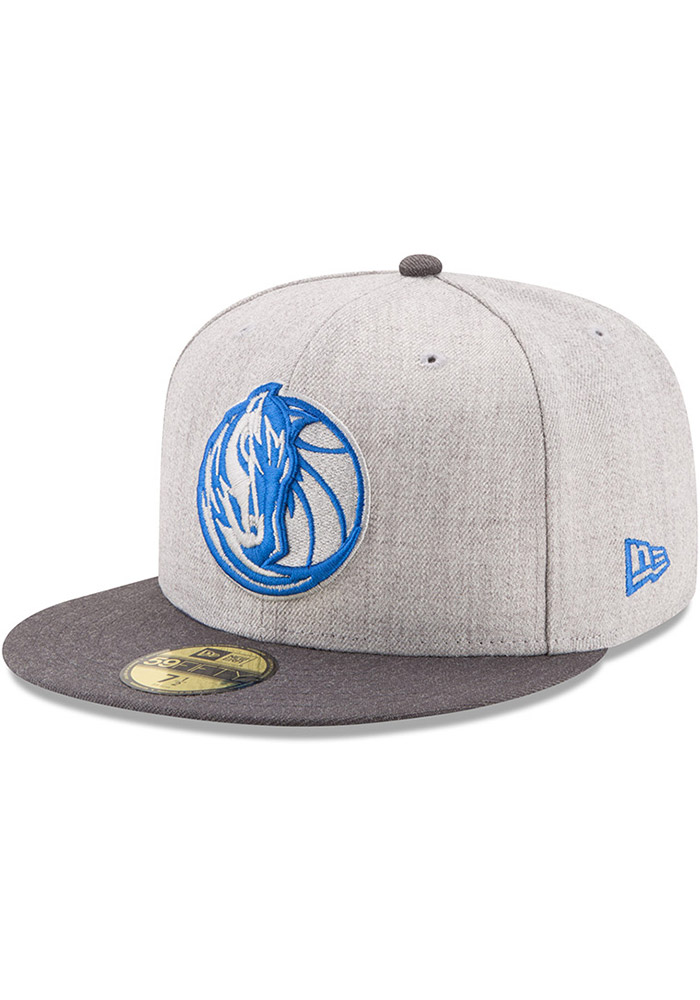 New Era Dallas Mavericks Mens Grey Heather Action 59FIFTY Fitted Hat - Image 1