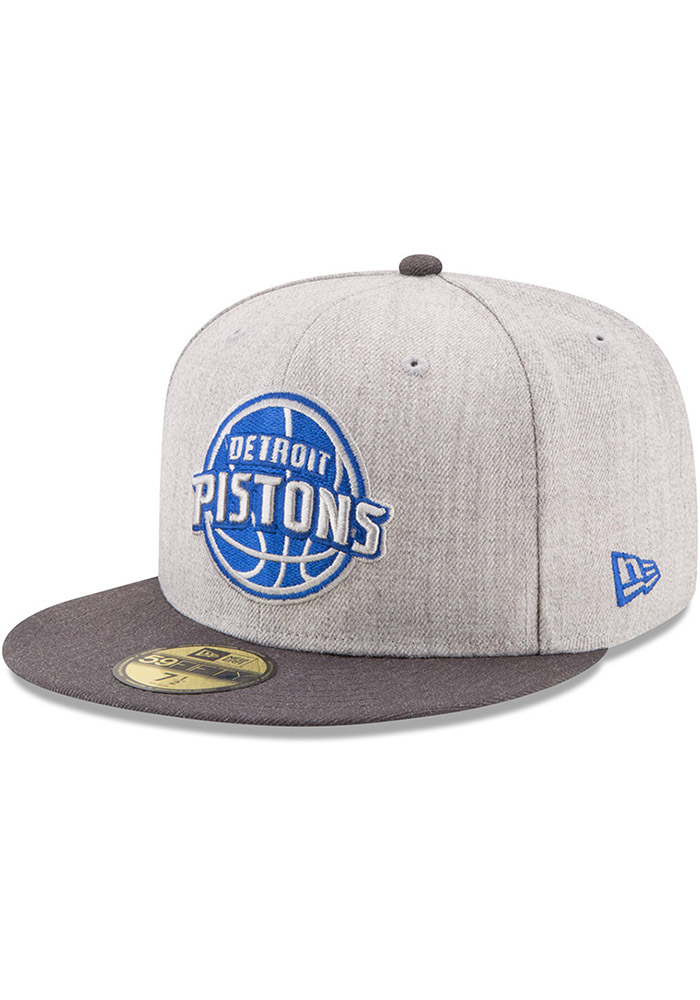 New Era Detroit Pistons Mens Grey Heather Action 59FIFTY Fitted Hat - Image 1