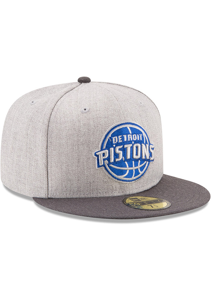 New Era Detroit Pistons Mens Grey Heather Action 59FIFTY Fitted Hat - Image 2