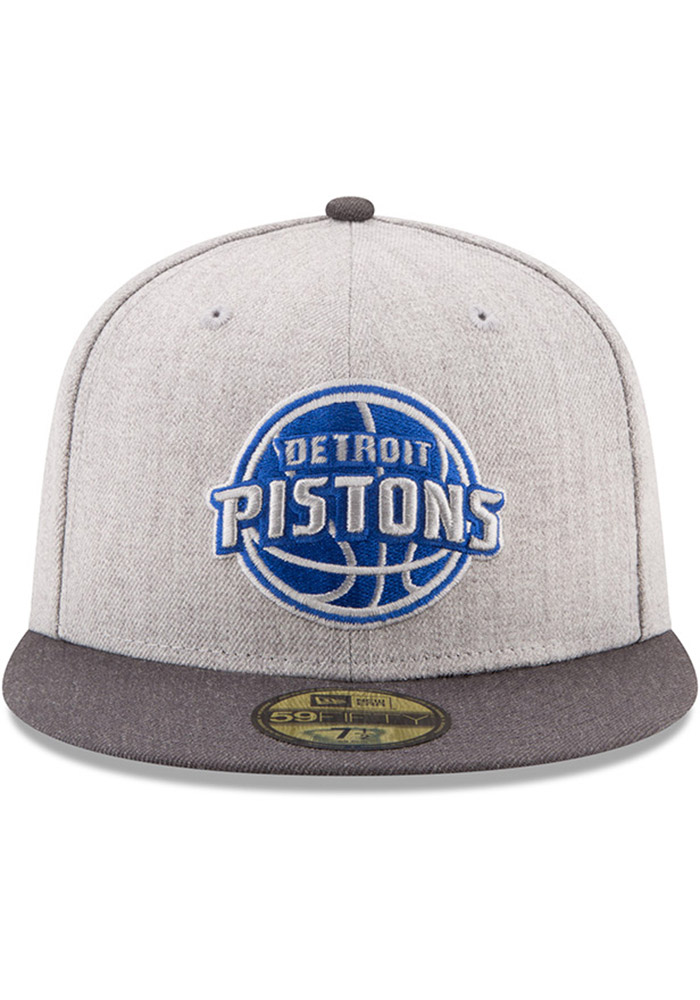 New Era Detroit Pistons Mens Grey Heather Action 59FIFTY Fitted Hat - Image 3