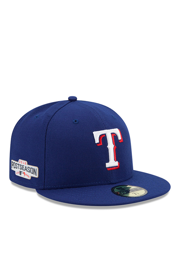 New Era Texas Rangers Mens Blue 2016 Postseason Side Patch 59FIFTY Fitted Hat - Image 1