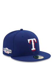 Texas Rangers New Era Mens Blue 2016 Postseason Side Patch 59FIFTY Fitted Hat