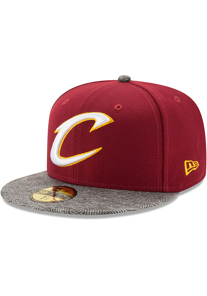 New Era Cleveland Cavaliers Mens Maroon Gripping Vize 59FIFTY Fitted Hat - Image 1
