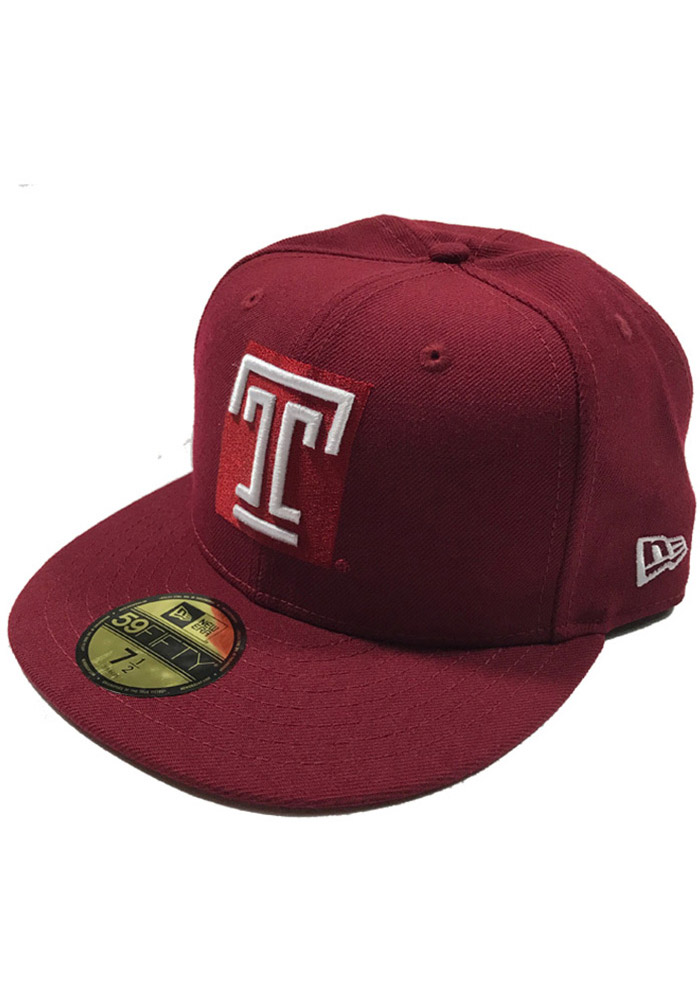 New Era Temple Owls Mens Cardinal 59FIFTY Fitted Hat - Image 1