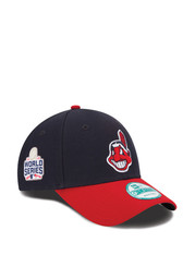 New Era Cleveland Indians Mens Navy Blue 2016 World Series Side Patch 9FORTY Adjustable Hat