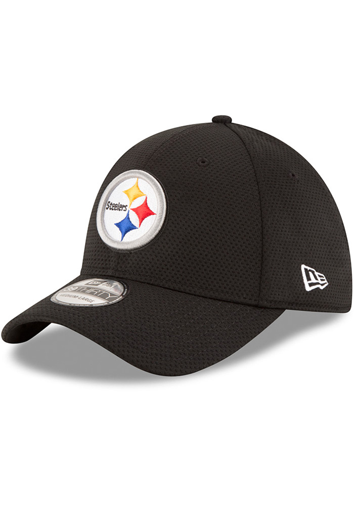 new product d7ecb aae04 New Era Pittsburgh Steelers Black Sideline Tech 39THIRTY Flex Hat