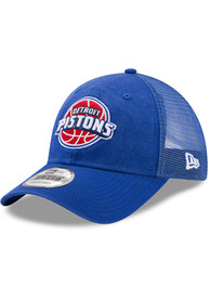 Detroit Pistons New Era Trucker Washed 9TWENTY Adjustable Hat - Blue