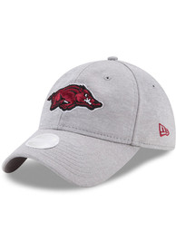 New Era Arkansas Razorbacks Womens Grey Sporty Sleek 9TWENTY Adjustable Hat