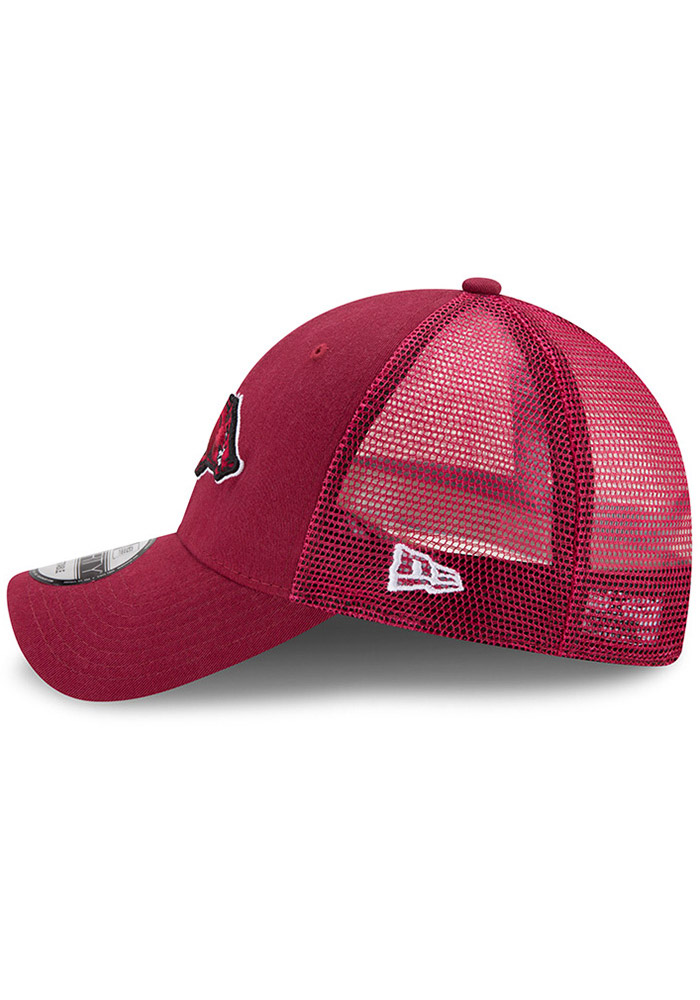 New Era Arkansas Razorbacks Trucker Washed 9FORTY Adjustable Hat - Cardinal - Image 4